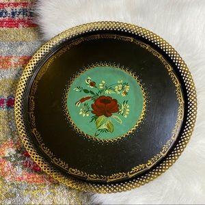 Vintage Large Hand Painted Flora Tray Metal Tin